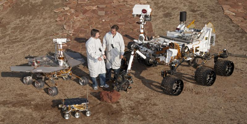 Size comparison of Mars Pathfinder, Spirit and Opportunity, and Curiosity rovers