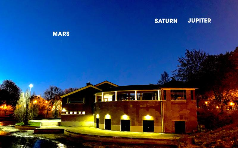 Jupiter, Saturn, and Mars visible in the early morning sky above Parc La Fontaine.